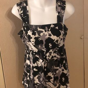 Ann Taylor Small White Black Floral Top Blouse